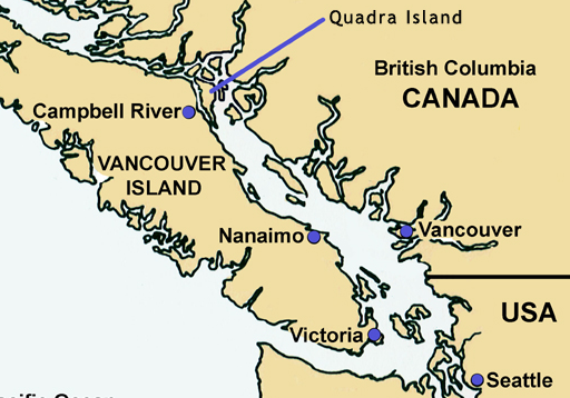 Quadra Island on the map.